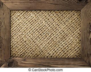 Wood Frame - Old wood frame with burlap material inside