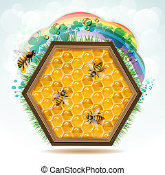Wood frame with bees