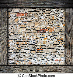 wood frame with brick wall