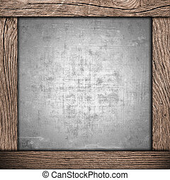 wood frame with metallic background