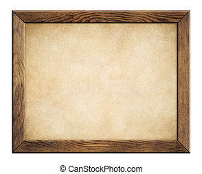 wood frame with old paper background - wood frame with old...