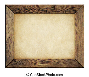 wood frame with old paper isolated on white