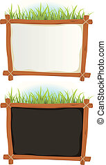 Illustration of a set of two cartoon wood frame with blank white and black sign for announcement and advertisement