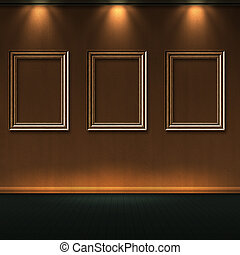 Wood frames in room with lights