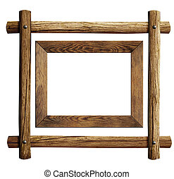Wood frames set isolated