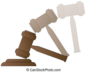 wood gavel hammer of auctioneer or judge with motion