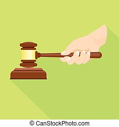 Wood gavel in hand icon, flat style