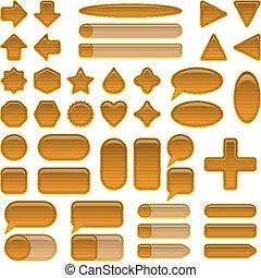 Wood glass buttons set