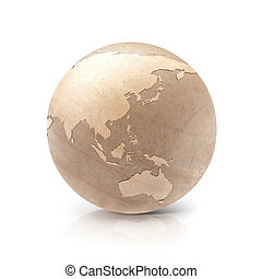 Wood globe 3D illustration Asia & Australia map