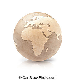 Wood globe 3D illustration europe and africa map