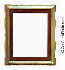wood golden frame with clipping path.