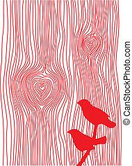 wood grain heart - wood grain texture with hearts and birds,...