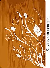 Wood grunge - Grunge floral illustration on the wood pattern...