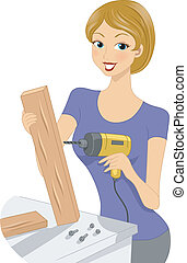 Wood Handicraft - Illustration of a Girl Using a Drill