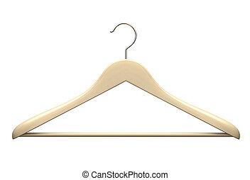 Wood hanger isolated on the white background illustration