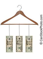 Wood hanger with money