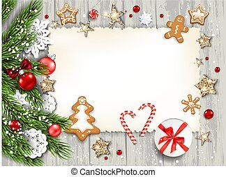 Wood holiday template - Christmas festive template for...