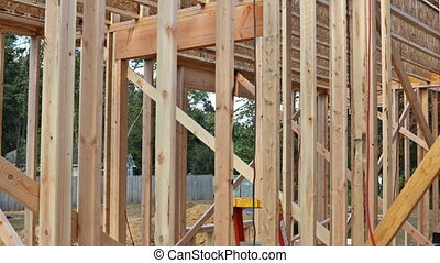 Wood Home Framing at Construction Site.