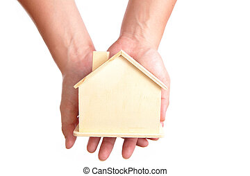 wood Home in the hand