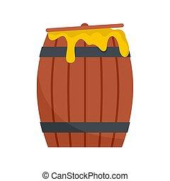 Wood honey barrel icon, flat style