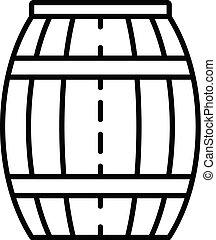 Wood honey barrel icon, outline style - Wood honey barrel...