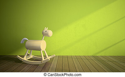 Wood horse in interior with green wall
