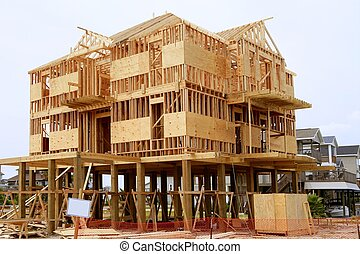 Wood house contruction, american wooden build structure