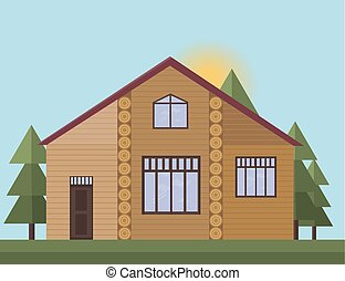 Wood house facade in the forrest. Vector illustration sunset background