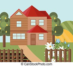 Wood house farm landscape. Vector facade flat style