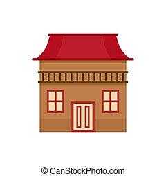 Wood house icon, flat style