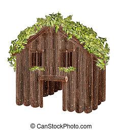 wood house isolated on white background