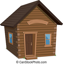Wood House Lifestyle - Illustration of a simple cartoon...