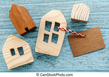 Wood house model with tag
