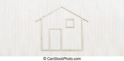 wood house shape isolated on wooden white background