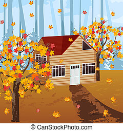 Wood house Vector autumn background illustrations fall