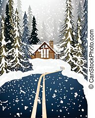 Wood house Winter snowy background fir trees. Road in the middle of the forest. Vector illustrations