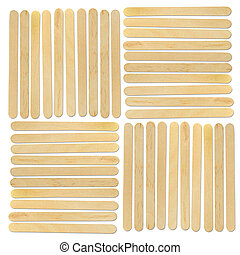 wood ice-cream stick on white background