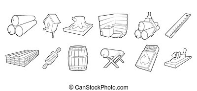 Wood icon set, outline style