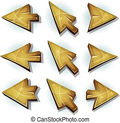 Wood Icons, Cursor And Arrows