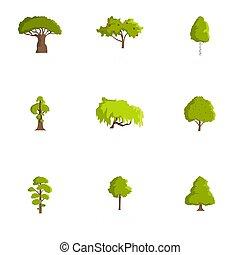 Wood icons set, cartoon style