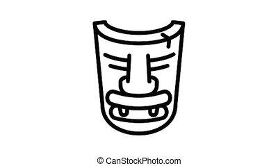 Wood idol mask icon animation outline best object on white background