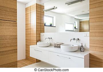 Wood in bathroom design