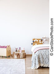 Wood in bright bedroom