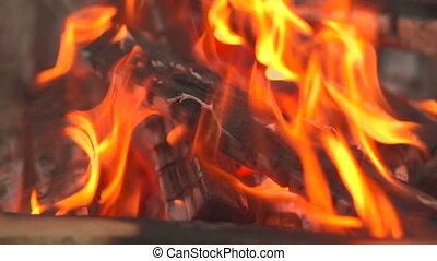 wood in fire closeup