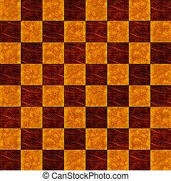 Wood Inlaid Floor checkerboard seam - Birdseye view of a...