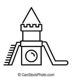 Wood kid castle icon, outline style