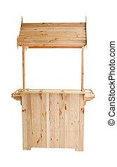 wood kios isolated white background