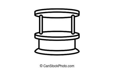 Wood kiosk icon animation best on white background for any design