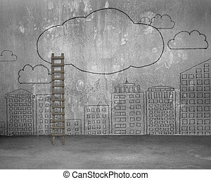 Wood ladder with doodles wall of clouds city buildings
