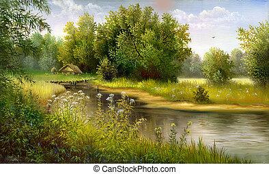 Wood lake - summer wood lake with trees and bushes